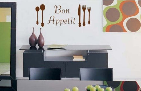 Bon Appetit Decal Sticker Eat Kitchen Dining Room Restaurant Wall Graphic Art - ezwalldecals  - vinyl decal - vinyl sticker - decals - stickers - wall decal - jdm decal - vinyl stickers - vinyl decals - 1