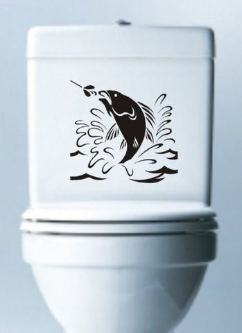 Jumping Fish Decal Sticker Toilet Laptop Art Graphic Fishing - ezwalldecals vinyl decal - vinyl sticker - decals - stickers - wall decal - jdm decal - vinyl stickers - vinyl decals - 1