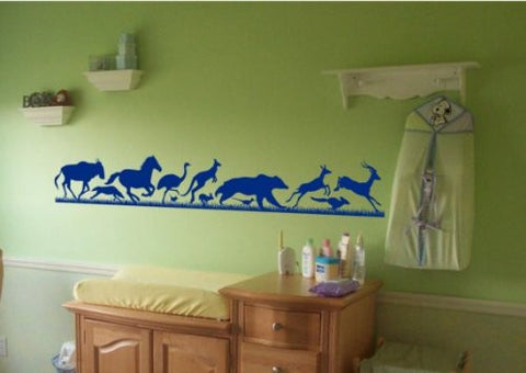 Animals Running Thru Grass Sticker Wall Decal Kids Room Zoo Fun Boy Teen Girl - ezwalldecals  - vinyl decal - vinyl sticker - decals - stickers - wall decal - jdm decal - vinyl stickers - vinyl decals - 1