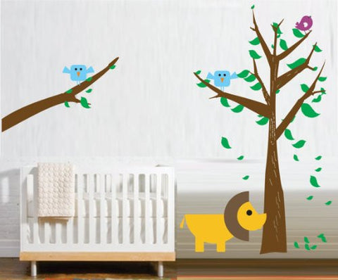 Adorable Tree with Lion and Birds - Kids Baby Wall Vinyl Decal BIG BIG BIG - ezwalldecals  - vinyl decal - vinyl sticker - decals - stickers - wall decal - jdm decal - vinyl stickers - vinyl decals - 1