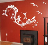 Floral Design with Birds Decal Sticker Wall Beautiful Modern Nature Children - ezwalldecals  - vinyl decal - vinyl sticker - decals - stickers - wall decal - jdm decal - vinyl stickers - vinyl decals - 1