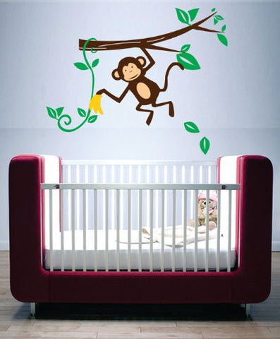 Adorable Hanging Monkey with Bananas - Kids Baby Wall Vinyl Decal art graphic - ezwalldecals  - vinyl decal - vinyl sticker - decals - stickers - wall decal - jdm decal - vinyl stickers - vinyl decals - 1