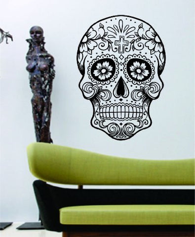 Extra Large Sugarskull Version 5 Sugar Skull Decal Sticker - ezwalldecals vinyl decal - vinyl sticker - decals - stickers - wall decal - jdm decal - vinyl stickers - vinyl decals - 1