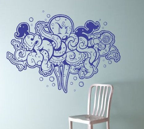 Extra Large Graffiti Octopus Wall Vinyl Decal Sticker Decals Nautical Ocean - ezwalldecals  - vinyl decal - vinyl sticker - decals - stickers - wall decal - jdm decal - vinyl stickers - vinyl decals - 1