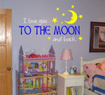 I Love YOU to the Moon and Back Decal Sticker Wall Baby Children Boy Girl - ezwalldecals  - vinyl decal - vinyl sticker - decals - stickers - wall decal - jdm decal - vinyl stickers - vinyl decals - 1