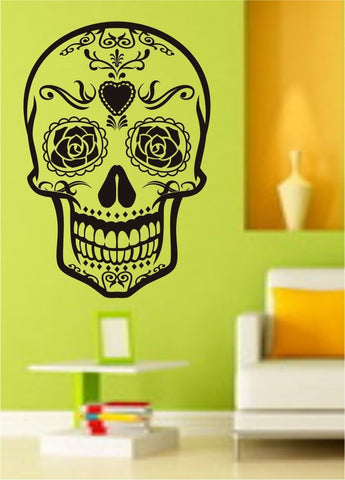 Sugarskull Version 9 Sugar Skull - ezwalldecals vinyl decal - vinyl sticker - decals - stickers - wall decal - jdm decal - vinyl stickers - vinyl decals - 1