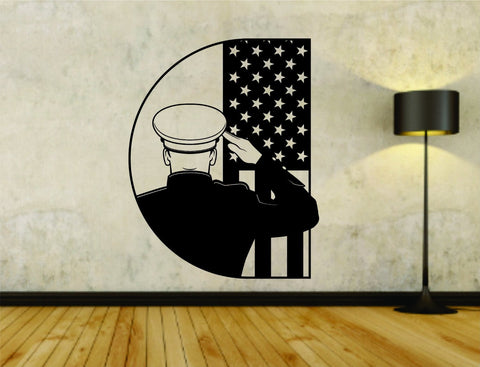 Military Soldier Saluting US Flag Uniform Vinyl Wall Decal Sticker - ezwalldecals  - vinyl decal - vinyl sticker - decals - stickers - wall decal - jdm decal - vinyl stickers - vinyl decals - 1