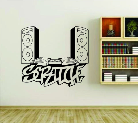 DJ Speakers and Turntable Scratch Graffiti Writing Vinyl Wall Decal Sticker - ezwalldecals  - vinyl decal - vinyl sticker - decals - stickers - wall decal - jdm decal - vinyl stickers - vinyl decals - 1