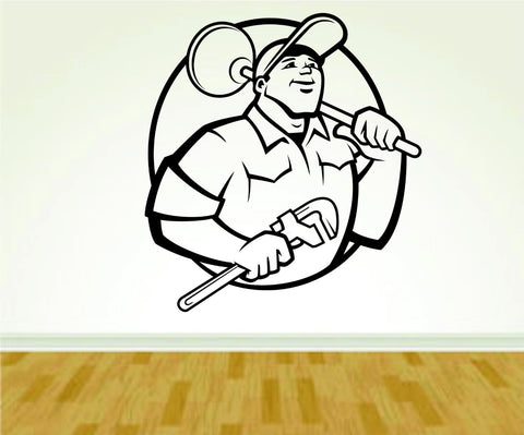 Plumber Tools Wrench Plumbing Business Logo Vinyl Wall Decal Sticker - ezwalldecals  - vinyl decal - vinyl sticker - decals - stickers - wall decal - jdm decal - vinyl stickers - vinyl decals - 1