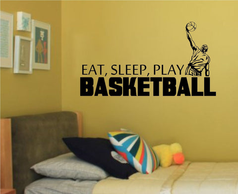 Basketball Eat Sleep Play Wall Vinyl Wall Decal Sticker - ezwalldecals  - vinyl decal - vinyl sticker - decals - stickers - wall decal - jdm decal - vinyl stickers - vinyl decals - 1