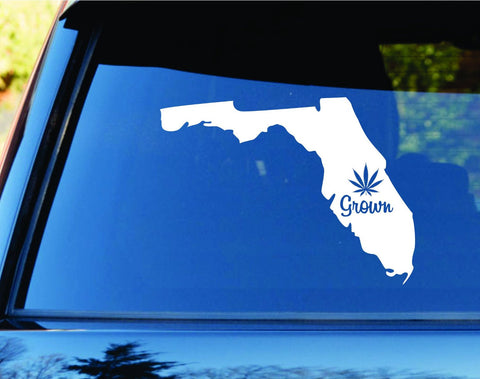 Florida Grown State Shape Weed Leaf Car Truck Window Laptop - ezwalldecals vinyl decal - vinyl sticker - decals - stickers - wall decal - jdm decal - vinyl stickers - vinyl decals - 1