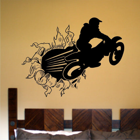 Dirtbike Rider Bursting Thru Wall Vinyl Decal Sticker Decal Stickers Motocross - ezwalldecals  - vinyl decal - vinyl sticker - decals - stickers - wall decal - jdm decal - vinyl stickers - vinyl decals - 1