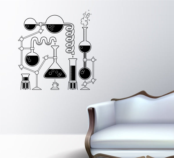 Science Beaker Set Scientist Beakers . - ezwalldecals vinyl decal - vinyl sticker - decals - stickers - wall decal - jdm decal - vinyl stickers - vinyl decals - 1