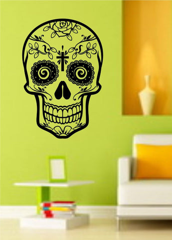 Sugarskull Version 14 Sugar Skull - ezwalldecals vinyl decal - vinyl sticker - decals - stickers - wall decal - jdm decal - vinyl stickers - vinyl decals - 1