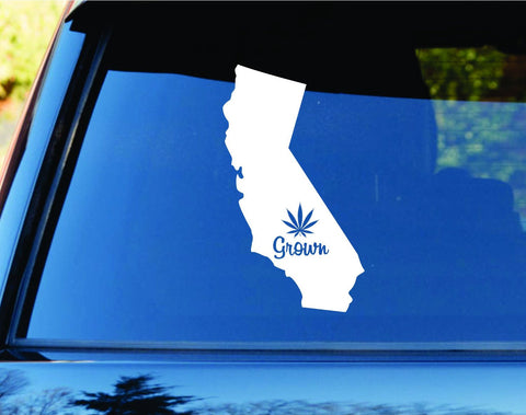 California Grown State Shape Weed Leaf Car Truck Window Decal Sticker - ezwalldecals  - vinyl decal - vinyl sticker - decals - stickers - wall decal - jdm decal - vinyl stickers - vinyl decals - 1