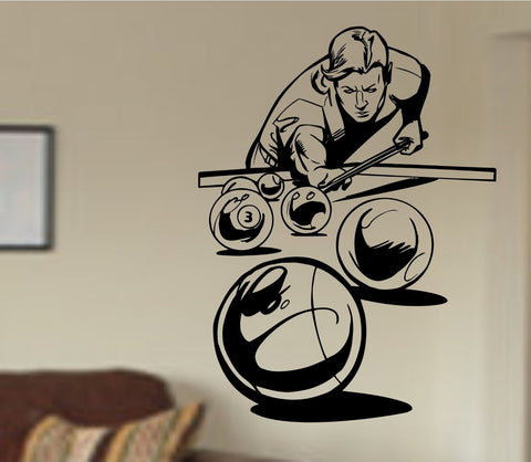 Pool Player Shooting Ball Version 101 Vinyl Wall Decal Sticker Art Sports - ezwalldecals  - vinyl decal - vinyl sticker - decals - stickers - wall decal - jdm decal - vinyl stickers - vinyl decals - 1