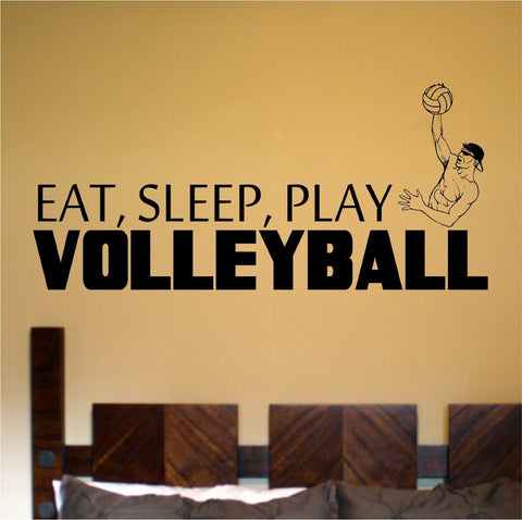 Eat Sleep Play Boy's Volleyball Vinyl Wall Decal Sticker Art Sports Kid Child - ezwalldecals  - vinyl decal - vinyl sticker - decals - stickers - wall decal - jdm decal - vinyl stickers - vinyl decals - 1