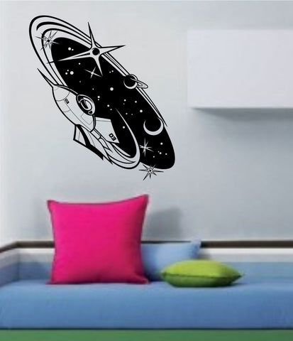 Spaceship and Stars Scene Vinyl Wall Decal Sticker Art Graphic - ezwalldecals vinyl decal - vinyl sticker - decals - stickers - wall decal - jdm decal - vinyl stickers - vinyl decals - 1