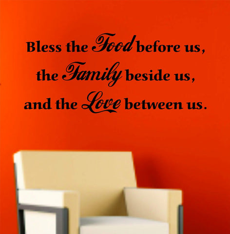Bless This Food Before Us Quote Wall Decal Sticker Family Art Graphic Home - ezwalldecals vinyl decal - vinyl sticker - decals - stickers - wall decal - jdm decal - vinyl stickers - vinyl decals - 1