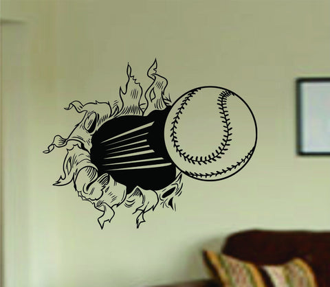 Baseball Bursting Through Wall Large Version Vinyl Decal Sticker - ezwalldecals  - vinyl decal - vinyl sticker - decals - stickers - wall decal - jdm decal - vinyl stickers - vinyl decals - 1