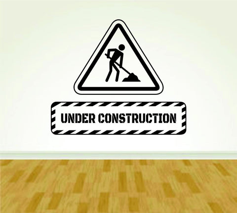 Construction Worker Sign Under Construction Version 108 Decal Sticker Wall - ezwalldecals  - vinyl decal - vinyl sticker - decals - stickers - wall decal - jdm decal - vinyl stickers - vinyl decals - 1
