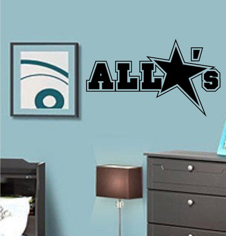 All Star's Logo Vinyl Wall Decal Sticker Art Sports Kid Children Ball Nursery - ezwalldecals  - vinyl decal - vinyl sticker - decals - stickers - wall decal - jdm decal - vinyl stickers - vinyl decals - 1