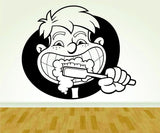 Kid Brushing Teeth Tooth and Toothbrush Dentist Dentistry Smile Sign Version 107 - ezwalldecals  - vinyl decal - vinyl sticker - decals - stickers - wall decal - jdm decal - vinyl stickers - vinyl decals - 1