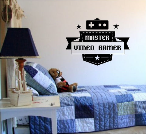 Master Video Gamer Controllers Decal Sticker Wall Boy Girl Teen Child - ezwalldecals  - vinyl decal - vinyl sticker - decals - stickers - wall decal - jdm decal - vinyl stickers - vinyl decals - 1