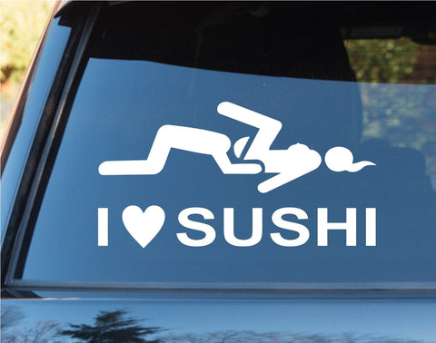 I Love Sushi Funny Car Window Windshield Lettering Decal Sticker - ezwalldecals vinyl decal - vinyl sticker - decals - stickers - wall decal - jdm decal - vinyl stickers - vinyl decals - 1