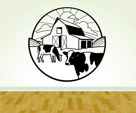 Barn and Cows Farming Farm Version 110 Vinyl Decal Sticker Wall Boy Girl Farm - ezwalldecals  - vinyl decal - vinyl sticker - decals - stickers - wall decal - jdm decal - vinyl stickers - vinyl decals - 1