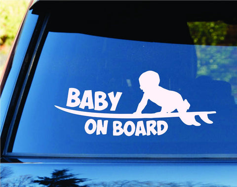 Baby On Board Surfboards Surfboard Surfing Car Truck Window - ezwalldecals vinyl decal - vinyl sticker - decals - stickers - wall decal - jdm decal - vinyl stickers - vinyl decals - 1