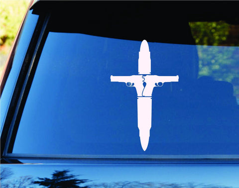 Bullet and Guns Cross Jesus Religion Car Truck Window Decal Sticker - ezwalldecals vinyl decal - vinyl sticker - decals - stickers - wall decal - jdm decal - vinyl stickers - vinyl decals - 1