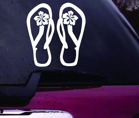 Flip flops with Hibiscus Decal Sticker Vinyl Decal Sticker Art Graphic Stickers Laptop Car Window - ezwalldecals vinyl decal - vinyl sticker - decals - stickers - wall decal - jdm decal - vinyl stickers - vinyl decals - 1