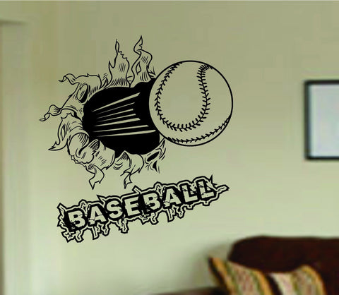 Baseball Bursting Through Wall with Word Vinyl Wall Decal Sticker Art Sports - ezwalldecals  - vinyl decal - vinyl sticker - decals - stickers - wall decal - jdm decal - vinyl stickers - vinyl decals - 1