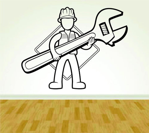 Construction Worker with Wrench Version 111 Decal Sticker Wall Boy Girl - ezwalldecals  - vinyl decal - vinyl sticker - decals - stickers - wall decal - jdm decal - vinyl stickers - vinyl decals - 1