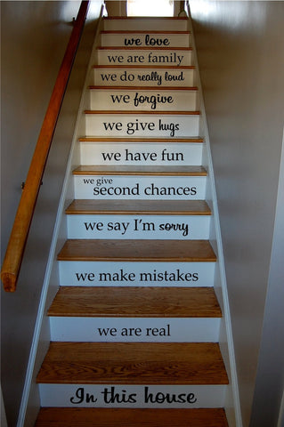 In This House Quote Staircase Wall Vinyl Decal Sticker Decals Room Decor Word... - ezwalldecals vinyl decal - vinyl sticker - decals - stickers - wall decal - jdm decal - vinyl stickers - vinyl decals - 1