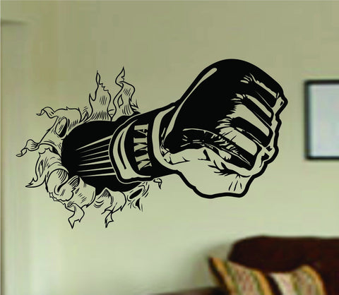 MMA Glove Bursting Through Wall Vinyl Wall Decal Sticker Art Sport - ezwalldecals  - vinyl decal - vinyl sticker - decals - stickers - wall decal - jdm decal - vinyl stickers - vinyl decals - 1