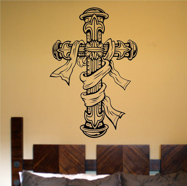 Cross Version 102 Vinyl Wall Decal Sticker Art Graphic Christian Church Jesus - ezwalldecals  - vinyl decal - vinyl sticker - decals - stickers - wall decal - jdm decal - vinyl stickers - vinyl decals - 1