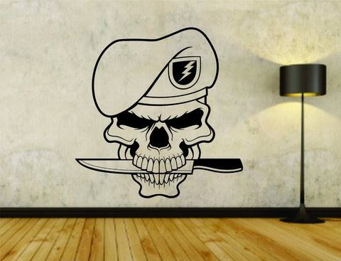 Military Skull with Beret and Knife Symbols Soldiers Uniform Vinyl Wall Decal - ezwalldecals  - vinyl decal - vinyl sticker - decals - stickers - wall decal - jdm decal - vinyl stickers - vinyl decals - 1