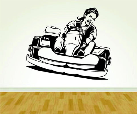 Go Cart Go Carting Racing Girl Vinyl Wall Decal Sticker Art Sports Kid Children - ezwalldecals  - vinyl decal - vinyl sticker - decals - stickers - wall decal - jdm decal - vinyl stickers - vinyl decals - 1