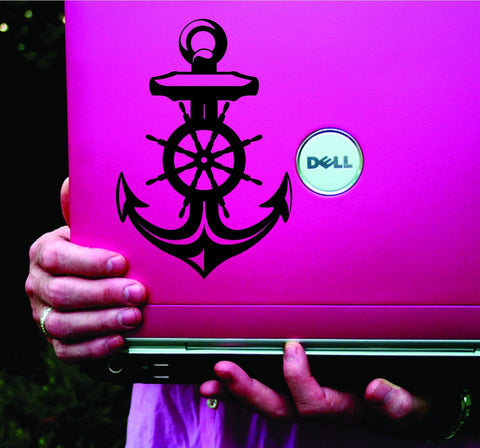 Nautical Anchor and Helm Vinyl Decal Sticker Art Graphic Sticker Laptop Car Window - ezwalldecals vinyl decal - vinyl sticker - decals - stickers - wall decal - jdm decal - vinyl stickers - vinyl decals - 1