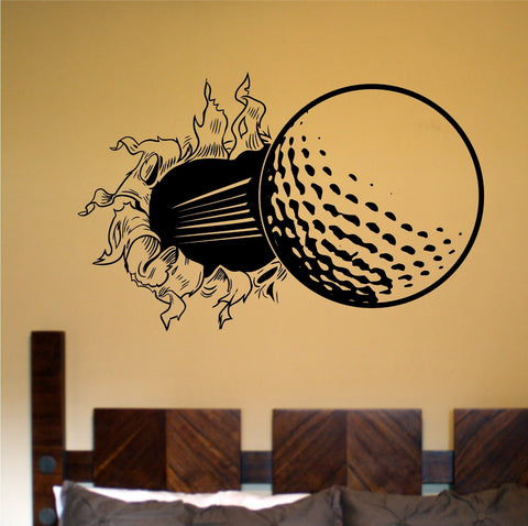 Golf Ball Bursting Thru Wall Vinyl Wall Decal Sticker Art Sports Kid Children - ezwalldecals  - vinyl decal - vinyl sticker - decals - stickers - wall decal - jdm decal - vinyl stickers - vinyl decals - 1