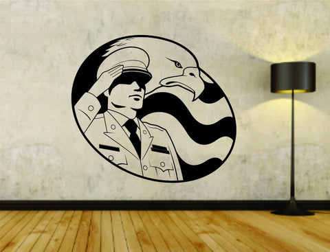 Military Soldier Saluting US Flag Version 101 Uniform Vinyl Wall Decal Sticker - ezwalldecals vinyl decal - vinyl sticker - decals - stickers - wall decal - jdm decal - vinyl stickers - vinyl decals - 1