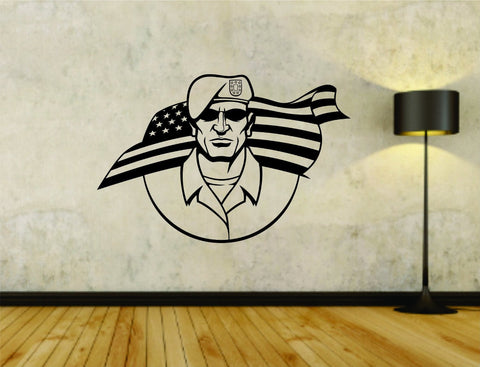 Military Soldier with US Flag Uniform Vinyl Wall Decal Sticker - ezwalldecals  - vinyl decal - vinyl sticker - decals - stickers - wall decal - jdm decal - vinyl stickers - vinyl decals - 1