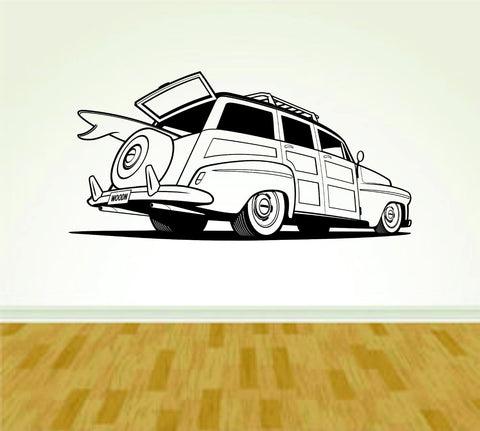 Car Woody with Surfboard Version 101 Vinyl Decal Sticker Wall Boy Girl - ezwalldecals  - vinyl decal - vinyl sticker - decals - stickers - wall decal - jdm decal - vinyl stickers - vinyl decals - 1