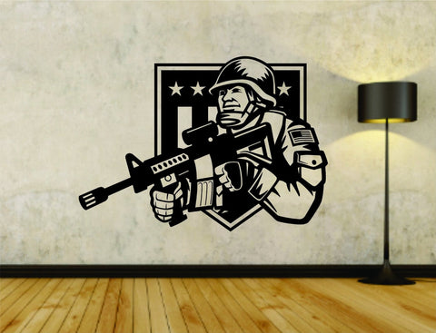 Soldier in Uniform with Weapon Military War Flag Vinyl Wall Decal Sticker - ezwalldecals  - vinyl decal - vinyl sticker - decals - stickers - wall decal - jdm decal - vinyl stickers - vinyl decals - 1