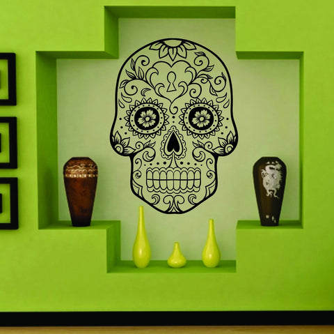 Extra Large Sugarskull Version 8 Wall Vinyl Decal Sticker Sugar Skull - ezwalldecals  - vinyl decal - vinyl sticker - decals - stickers - wall decal - jdm decal - vinyl stickers - vinyl decals - 1