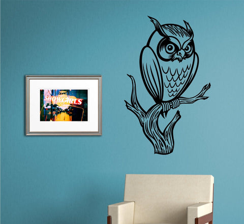Owl on a Branch Wall Vinyl Decal Sticker Art Graphic Sticker - ezwalldecals  - vinyl decal - vinyl sticker - decals - stickers - wall decal - jdm decal - vinyl stickers - vinyl decals - 1