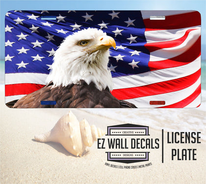 Bald Eagle and American Flag Aluminum Vanity License Plate