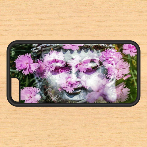 Buddha Statue with Flowers PC SEC1 Print Design Art iPhone 4 / 4s / 5 / 5s / 5c /6 / 6s /6+ Apple Samsung Galaxy S3 / S4 / S5 / S6